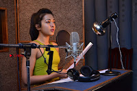 Actress Catherine Tresa Pos during Self Dubbing for Gautham Nanda Movie  0034.JPG
