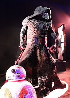 BB-8 and Kylo Ren Lego statues inside the tent during the Star Wars: The Force Awakens premiere after party.