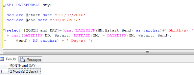 Sql server: Convert total number of days into month(s) and day(s)