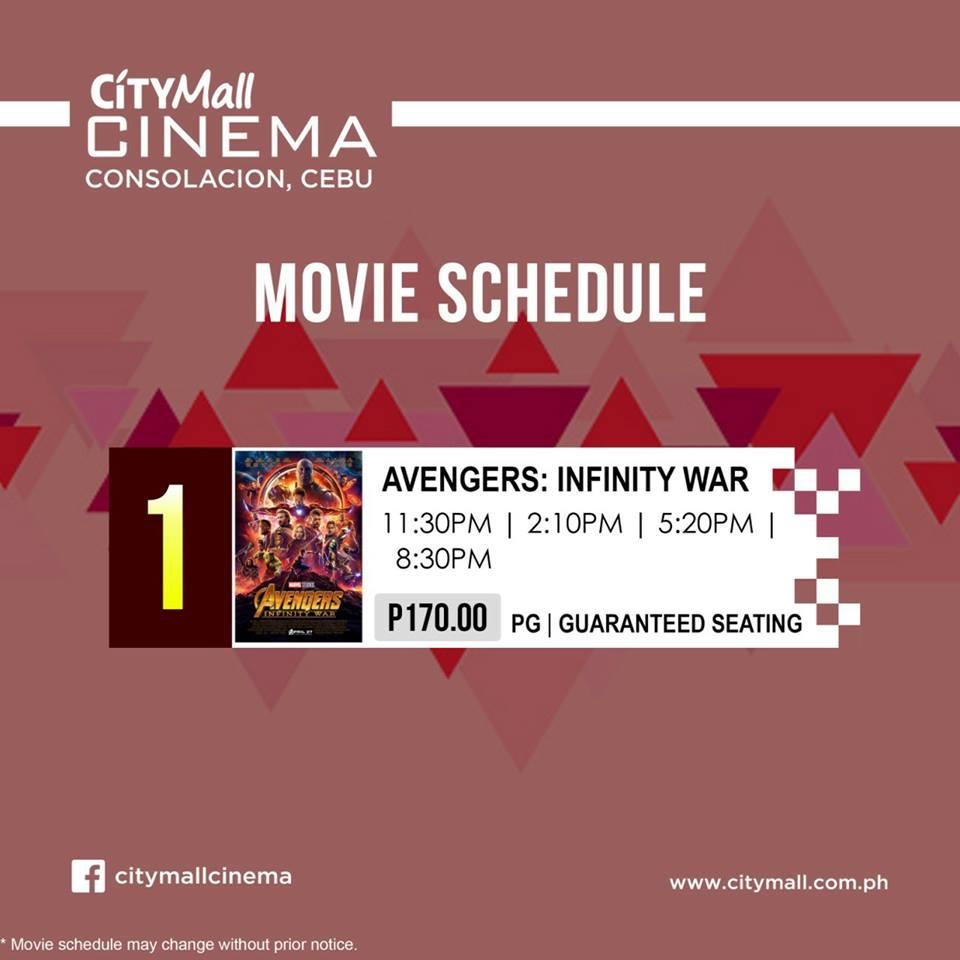 Download Movie Schedule of Avengers : Infinity War in Cebu ...