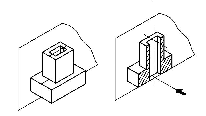 Convencionalismos gr ficos cortes for Plano de planta dibujo tecnico