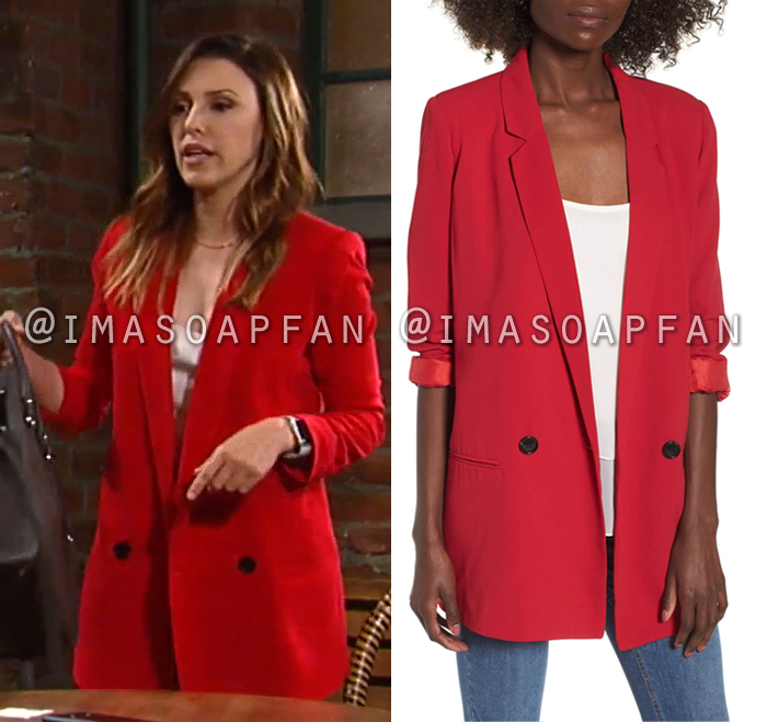 Margaux Dawson, Elizabeth Hendrickson, Oversized Red Blazer, General Hospital, GH