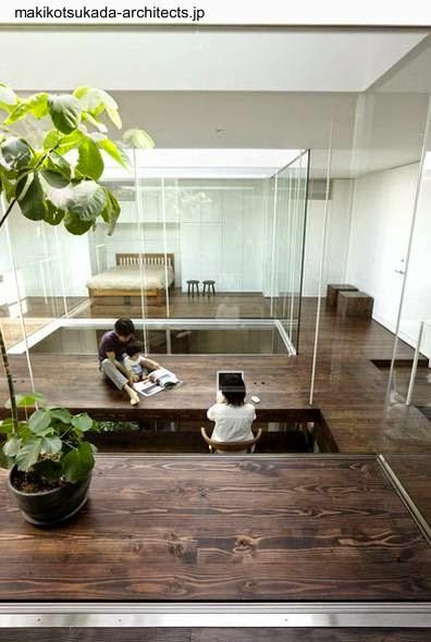 Interior planta alta de residencia Minimalista en Tokio