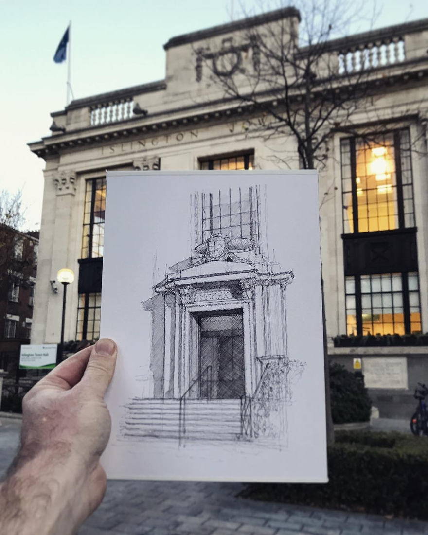 11-Islington-Town-Hall-London-Luke-Adam-Hawker-Architectural-Illustration-of-Imposing-Buildings-www-designstack-co