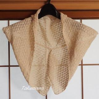 アナンダの染色綿糸の透かし編みのボレロ1