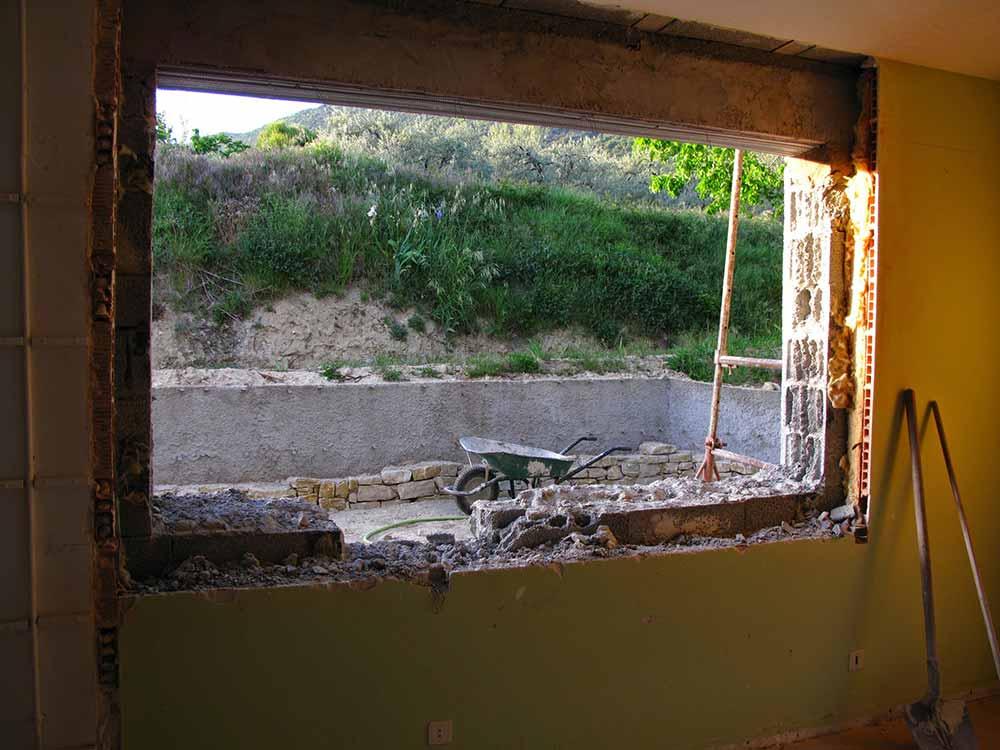 Chantier de l'atelier - Future fenêtre