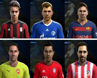 Faces: Jesus Gamez, Max Meyer, Mastour, Messi, Ospina, Thiago, Pes 2013