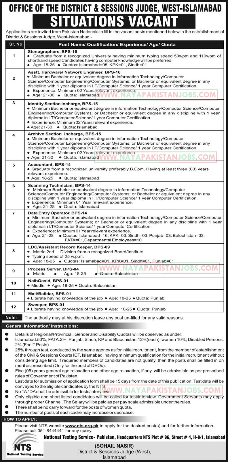 NT-Jobs-in-Office-of-the-District-and-Session-Judge-Islamabad Job Application Form For Pof on blank generic, part time, free generic,