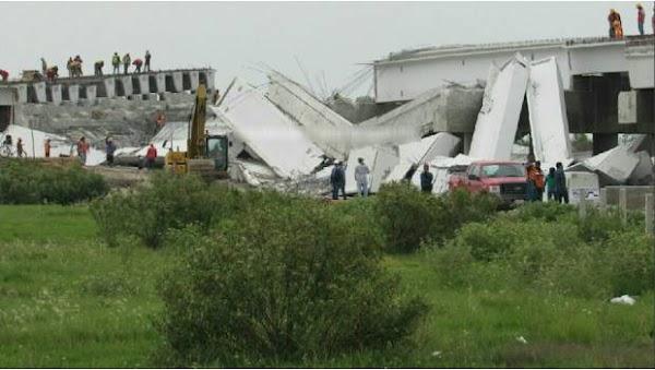 Tras sismo cae puente vehicular que conectaría con el nuevo aeropuerto
