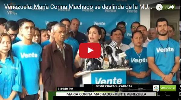 Maria Corina Machado se separa de la MUD