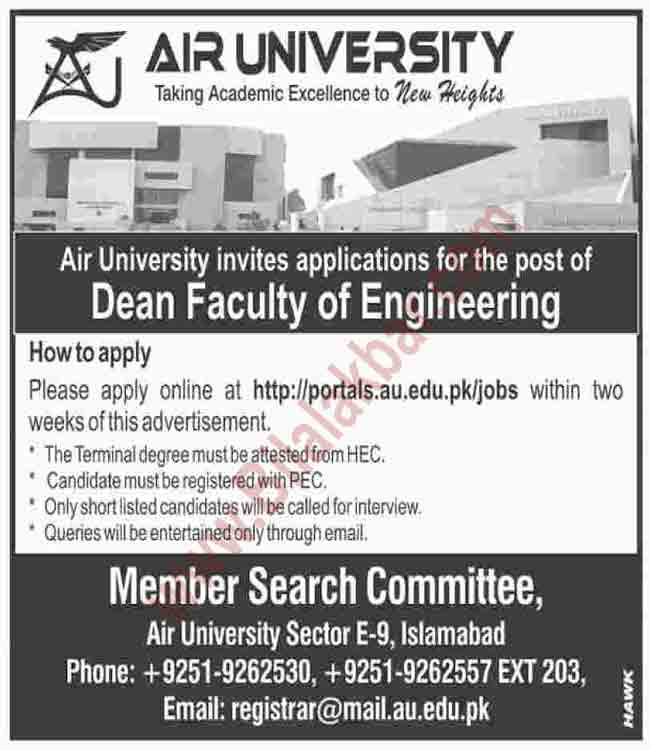 Dean Faculty of Engineering in Air University