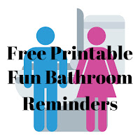 Free Printable Bathroom Reminders, featuring graphics of a toilet and a male and female