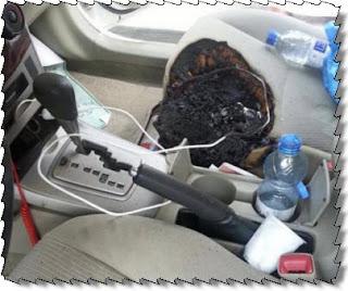 هاتف ذكي يتسبب في حرق سيارة