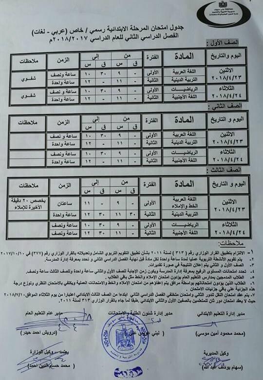جدول امتحانات الصف الاول و الثاني و الثالث الابتدائي 2018 الترم الثاني محافظة بني سويف