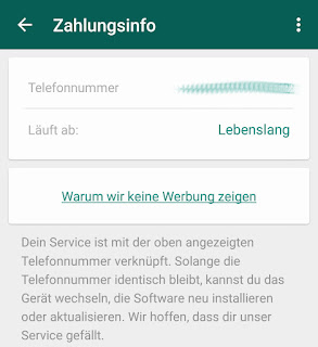 WhatsApp läuft ab: lebenslang
