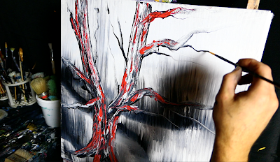 PAINTING FOR MEDITATION - RED TREE - ACRYLIC ABSTRACT PAINTING - ART VIDEO - PAINTING IN SLOW MOTION