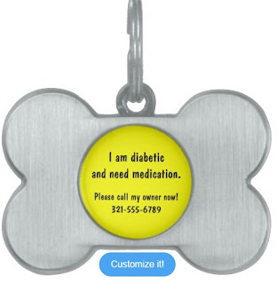 Dog ID tag for a pet with a medical condition. Customizable from Zazzle.