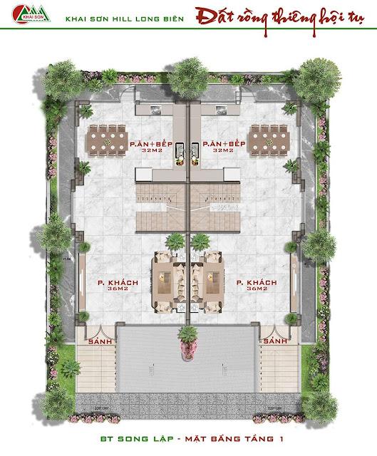 Thiết kế tầng 1 biệt thự song lập