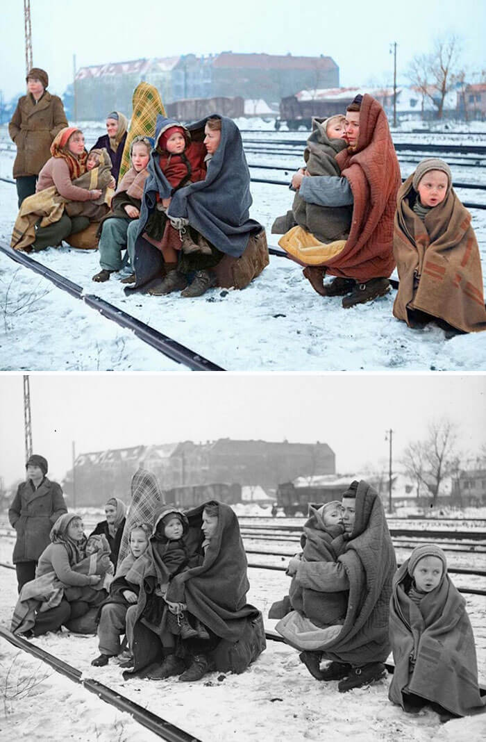 Digital Artist Colorizes The Last Heartbreaking Pictures Of A 14-Year-Old Polish Girl In Auschwitz - Polish Refugees