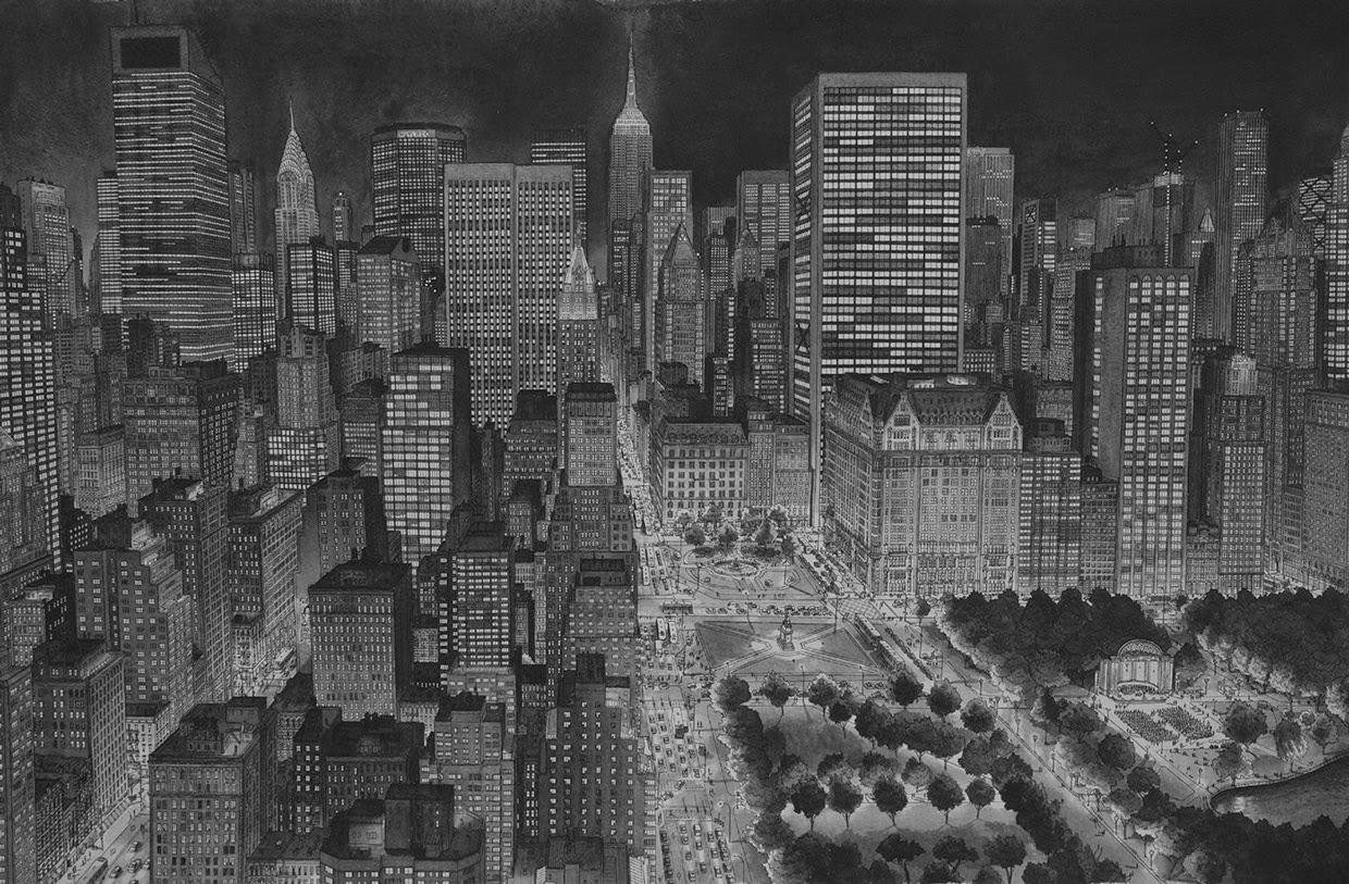 05-NYC-at-Night-Stefan-Bleekrode-Fantasy-in-Detailed-Architectural-Drawings-www-designstack-co