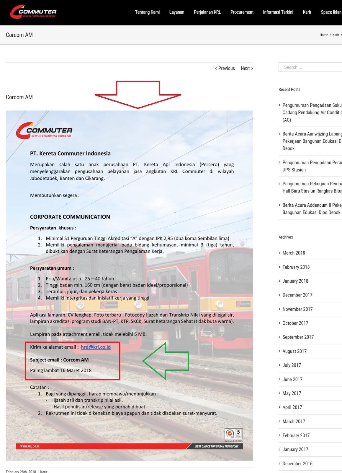 Cara Melamar Kerja Di PT Kereta Commuter Indonesia (BUMN)