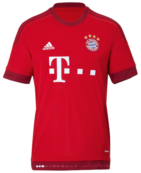 The new FC Bayern Munich 2015-2016 Away Kit is white with red 3 stripes  running down the sleeves of the shirt. On the front of the new FC Bayern  Munich ... f1c4b21c9