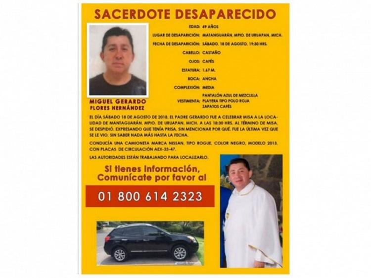 Localizan ejecutado a sacerdote desaparecido en Michoacán