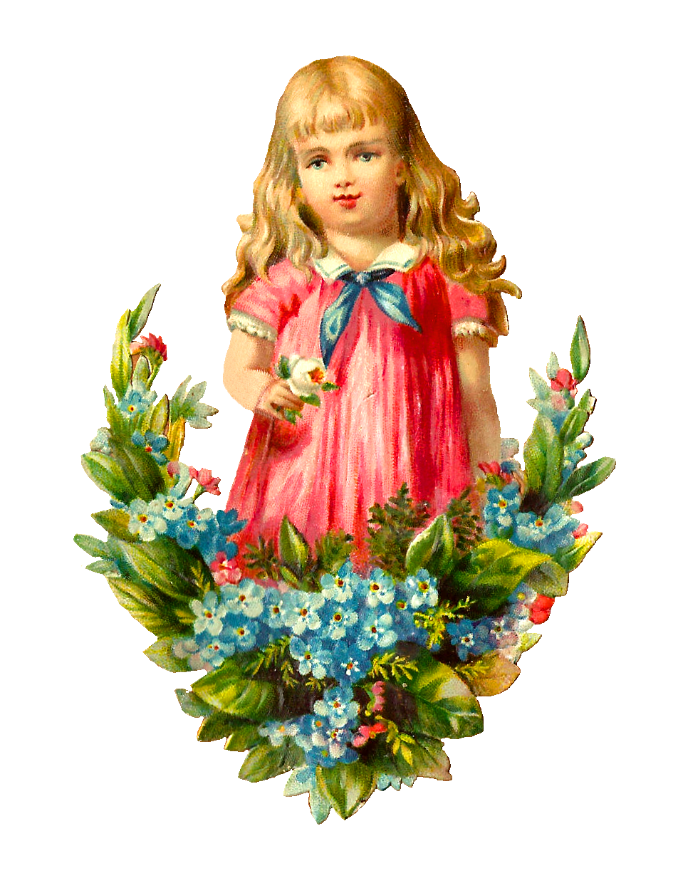 clipart girl holding flowers - photo #36