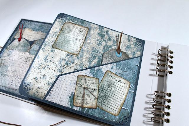 Bolsillos del libro de firmas hechos con Stamperia Blues.