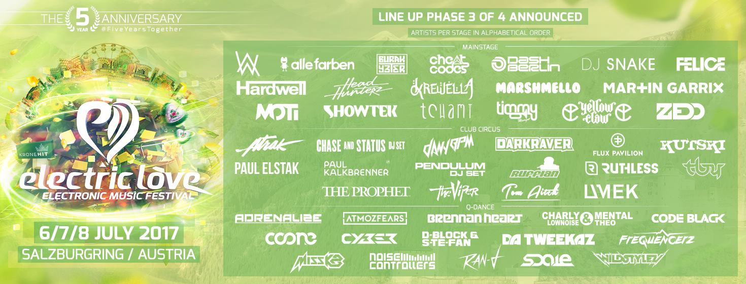Electric Love Festival Line Up 2017