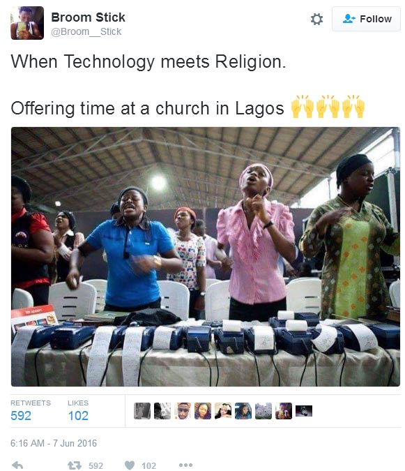 See church in Lagos State where POS is used for offering