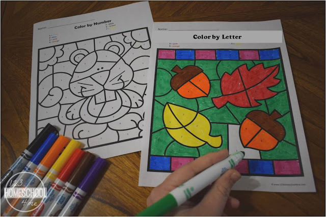 Free Fall Color By Letter Worksheets Kindergarten Worksheets And Games
