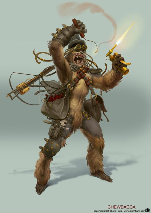 Bjorn Hurri ilustrações fantasia Star Wars steampunk Chewbacca