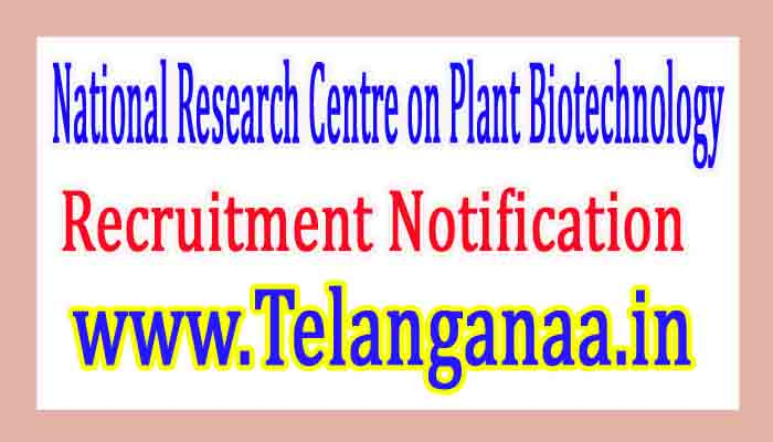 National Research Centre on Plant Biotechnology NRCPB Recruitment Notification 2017