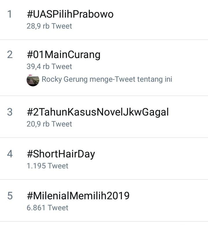 #UASPilihPrabowo Trending, Keharuan Netizen Terbitkan Tangis