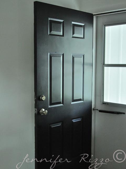 Front door painted black with rustoleum flat