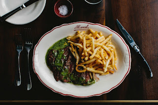 L'Entrecote at Marcel, served with sauce verte and frites.