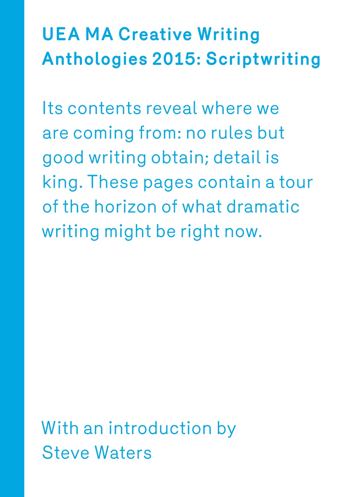UEA Creative Writing Anthology Scriptwriting 2015