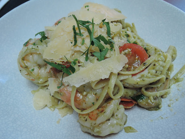 57 cafe;  pescatarian; seafood pasta, lunch