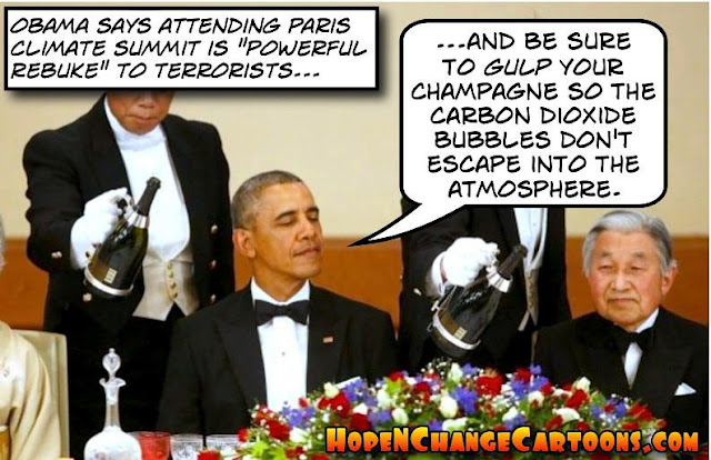 obama, obama jokes, political, humor, cartoon, conservative, hope n' change, hope and change, stilton jarlsberg, terror, isis, paris, climate change, champagne