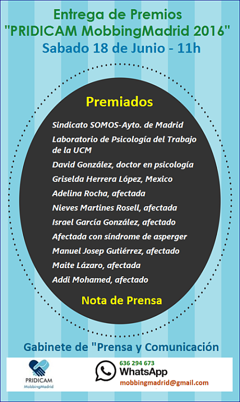 """Entidades y personas premiadas - Premios """"PRIDICAM MobbingMadrid 2016"""""""