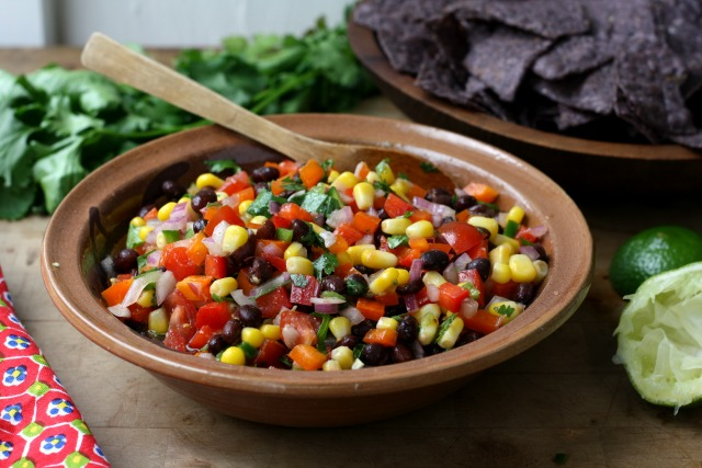 Sweet Pepper Black Bean Salsa is great eaten like a dip with tortilla chips or added to quesadillas, tacos and fajitas.