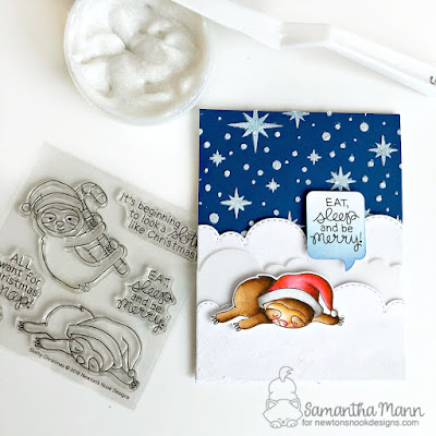 Eat Sleep and Be Merry Card by Samantha Mann for Newton's Nook Designs and ThermOWeb Collaboration, Christmas, sloth, Card, handmade cards, flock, clouds, night sky, glitter #newtonsnook #thermoweb #flock #chrismtascard #sloth