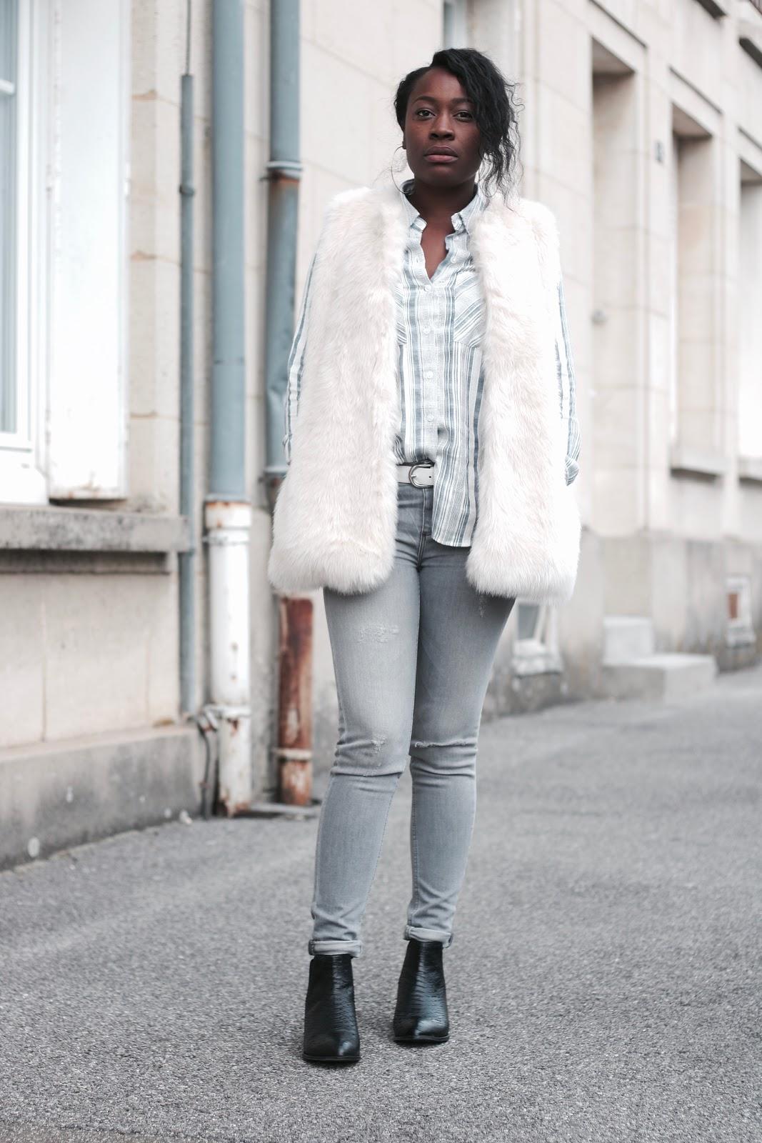 fourrure-chemise-rayée-jeans gris