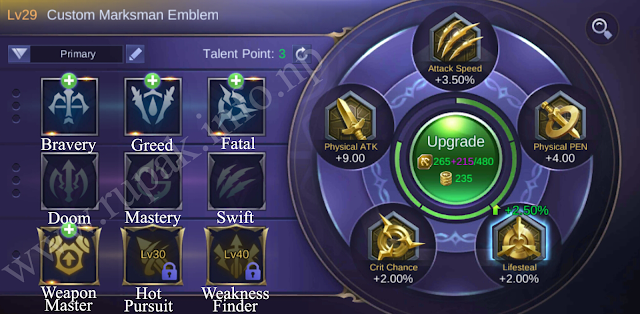 Mobile Legends Custom Marksman Emblem Details