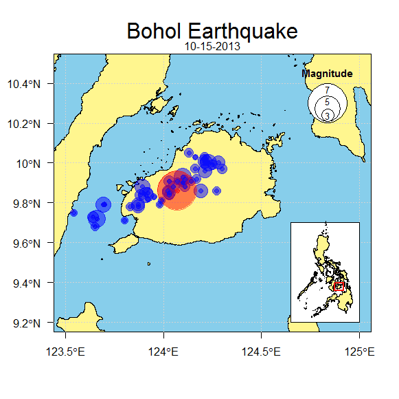Mapping Earthquake in Bohol using R