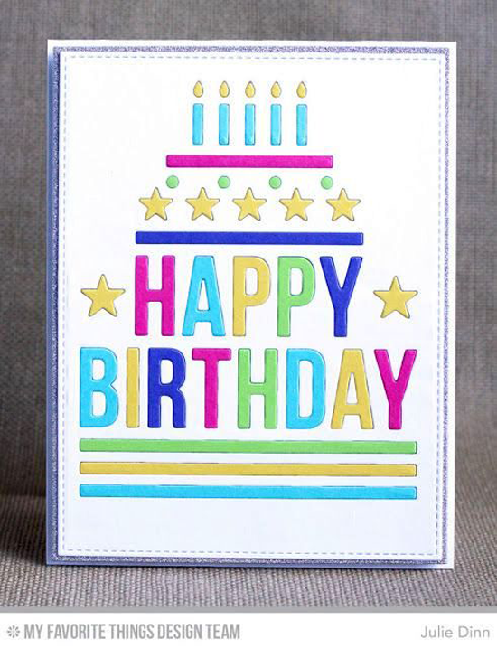 Handmade card from Julie Dinn featuring Happy Birthday Centerpieces, Blueprints 2, and Blueprints 13 Die-namics #mftstamps
