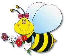 Dibujo de una abeja con flores en la mano para niños