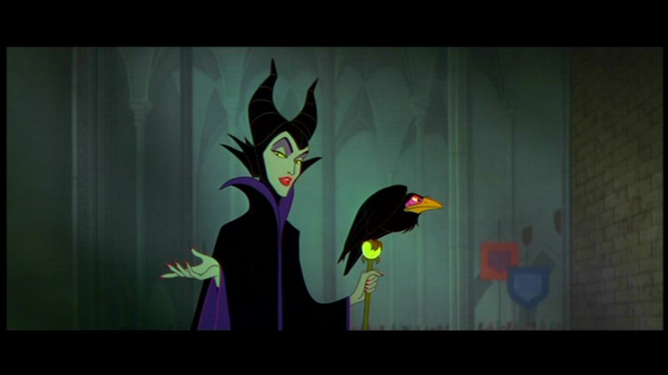 Maleficent gesturing in Sleeping Beauty 1959 animatedfilmreviews.filminspector.com