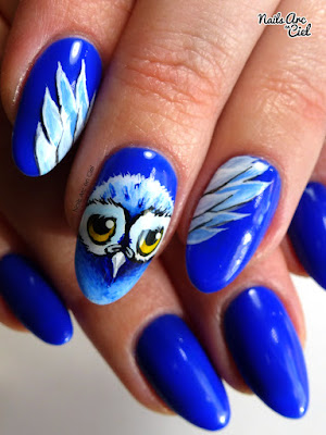 Nail Art - Hibou des neiges par Nails Arc en Ciel